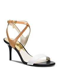 Michael Michael Kors Strappy Sandals Kaylee Mid Heel Peanut Optic White Black