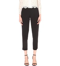 Whistles Anna Slim Mid Rise Wool Trousers Black