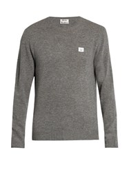 Acne Studios Dasher Face Patch Wool Sweater Grey