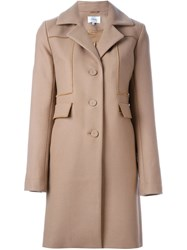 Carven Single Breasted Coat Nude And Neutrals