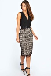 Boohoo Pleated Plunge Lace Bodycon Midi Dress Black