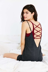 Urban Outfitters Rosa Lace Up Seamless Bra Maroon