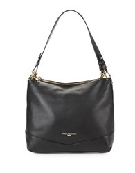 Karl Lagerfeld Pebbled Leather Hobo Bag Black Gold