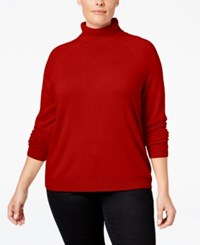 Karen Scott Plus Size Cashmelon Luxsoft Turtleneck Sweater Only At Macy's Red Cherry