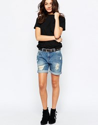 Jdy J.D.Y Destroyed Boyfriend Denim Shorts Blue