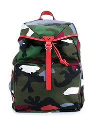 Valentino Leather Trimmed Camouflage Backpack Multicolour