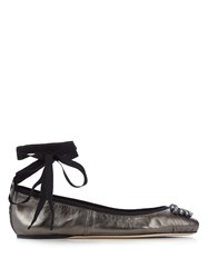 Jimmy Choo Grace Embellished Leather Ballet Flats Silver