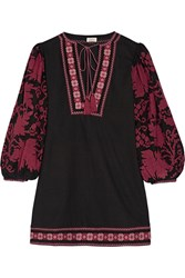 Talitha Salma Embroidered Cotton Mini Dress Burgundy Purple
