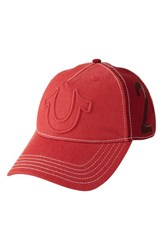 Men's True Religion Brand Jeans 'Raised Horseshoe' Baseball Cap Red True Red