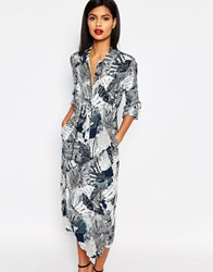 French Connection Maxi Shirt Dress In Lala Palm Print Summer White Multi