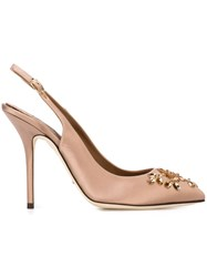 Dolce And Gabbana Embellished Slingback Pumps Pink And Purple