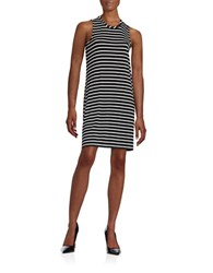 Calvin Klein Striped Knit Dress Black White