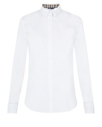 Aquascutum London Bowten Cotton Stretch Shirt White