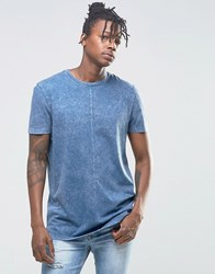 Asos Longline T Shirt With Acid Wash In Blue Blue
