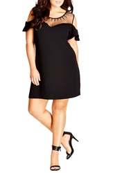 City Chic 'Stud Star' Illusion Off The Shoulder Shift Dress Plus Size Black
