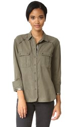 Free People Off Campus Button Down Blouse Moss
