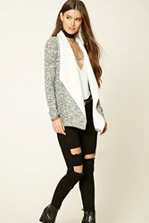 Forever 21 Marled Faux Shearling Cardigan Black