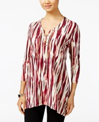 Jm Collection Lace Up Tunic Only At Macy's Merlot
