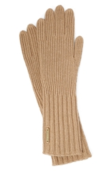 Burberry Cashmere Blend Touch Tech Knit Gloves Camel