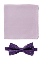 Nicole Miller Silk Striped Bow Tie And Pocket Square Boxed Set Purple