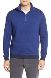 Bugatchi Knit Quarter Zip Mock Neck Pullover Midnight