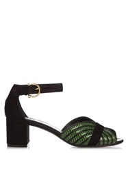 Salvatore Ferragamo Reptile Effect Leather Sandals Black Green