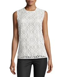 Kaufman Franco Sleeveless Moroccan Lace Top Ivory