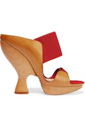 Donna Karan Leather And Suede Sandals Red