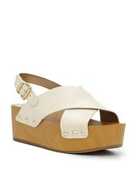 Sam Edelman Studded Leather Wooden Wedge Sandals White