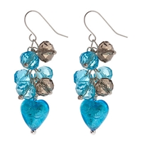 Martick Heart Cluster Earrings Turquoise
