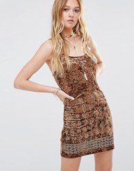 Ebonie N Ivory Embroidered Velvet Cami Dress Brown