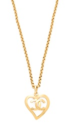 Wgaca Chanel Cc Open Heart Necklace Previously Owned Gold