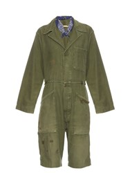 Bliss And Mischief Distressed Vintage Cotton Jumpsuit Khaki