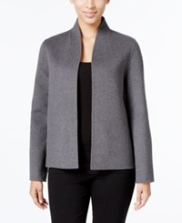 Eileen Fisher Open Front High Collar Jacket Ash