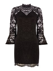 Jessica Wright Bell Sleeve Lace Overlay Bodycon Dress Black