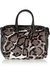Nancy Gonzalez Christina Leopard Print Calf Hair And Patent Crocodile Tote Animal Print
