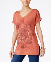 Styleandco. Style Co. Graphic Print Short Sleeve Sweatshirt Only At Macy's Sienna Orange