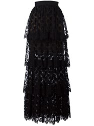 Elie Saab Lace Layered Long Skirt Black