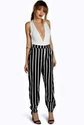 Boohoo Wide Stripe Cuffed Jogger Black