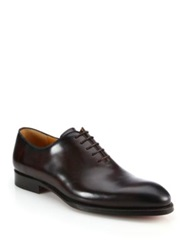 Saks Fifth Avenue By Magnanni Bolo One Piece Leather Lace Up Shoes Brown
