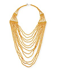 Beaded Multi Strand Long Necklace Yellow Devon Leigh