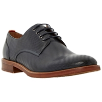 Bertie Rusty Perforated Leather Derby Shoes Navy