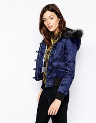 Bellfield Bomber Jacket With Fur Trim Hood Navy