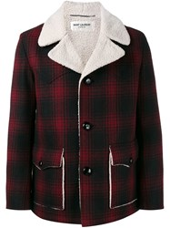 Saint Laurent Faux Shearling Checked Coat Red