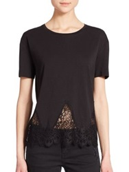 The Kooples Lace Trim Jersey Tee Black Nude