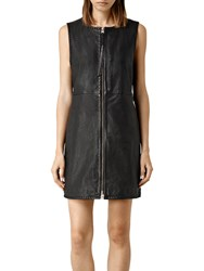 Allsaints Laced Maya Leather Dress Black