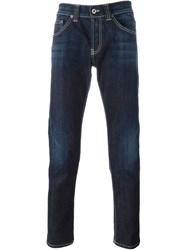 Dondup Contrast Stitching Slim Fit Jeans Blue