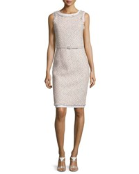 Oscar De La Renta Sleeveless Tinsel Tweed Sheath Dress Pink Gray Gray Pink