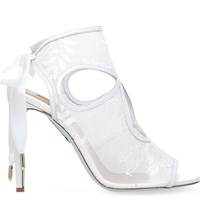 Aquazzura Sexy Thing Bridal 105 Lace And Leather Heeled Sandals Winter Wht