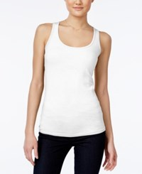 Planet Gold Juniors' Racerback Tank Top White